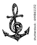 anchor and treble clef   Shutterstock .eps vector #644861152