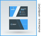double sided blue business card ... | Shutterstock .eps vector #644864542