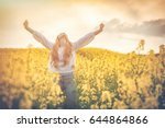 happy smiling woman in yellow... | Shutterstock . vector #644864866