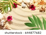 sea shells starfish and palm on ... | Shutterstock . vector #644877682