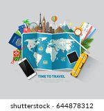 top view on travel and tourism... | Shutterstock .eps vector #644878312
