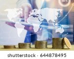 stack coins on business man... | Shutterstock . vector #644878495
