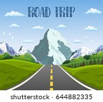 highway drive with beautiful... | Shutterstock .eps vector #644882335