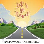 highway drive with beautiful... | Shutterstock .eps vector #644882362