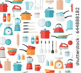 kitchen icons seamless pattern. ... | Shutterstock .eps vector #644888182