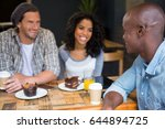 happy young man talking with...   Shutterstock . vector #644894725