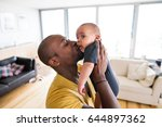 young afro american father... | Shutterstock . vector #644897362