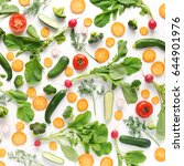 fresh vegetables and greens on... | Shutterstock . vector #644901976