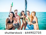 young cheerful people having... | Shutterstock . vector #644902735