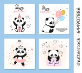 cute panda bear vector... | Shutterstock .eps vector #644907886