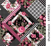 seamless floral patchwork... | Shutterstock .eps vector #644908216