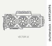 line flat vector computer part... | Shutterstock .eps vector #644916496