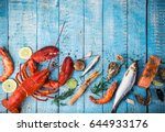 fresh tasty seafood served on... | Shutterstock . vector #644933176