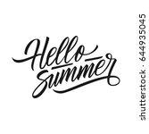 handwritten phrase hello summer.... | Shutterstock .eps vector #644935045