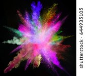 colored powder explosion on... | Shutterstock . vector #644935105