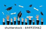 hands of graduates throwing... | Shutterstock .eps vector #644935462