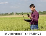 young attractive farmer with... | Shutterstock . vector #644938426