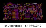 neon colors on a black... | Shutterstock .eps vector #644941342