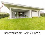 modern house with the covered... | Shutterstock . vector #644944255