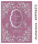 wedding invitation luxury card... | Shutterstock .eps vector #644956372