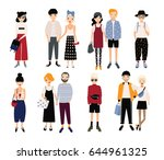 set of stylish young people and ... | Shutterstock .eps vector #644961325