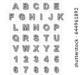 letters and numbers 3d metal... | Shutterstock . vector #644961892