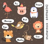 cute vocabulary with flamingo... | Shutterstock .eps vector #644966542