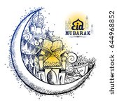 illustration of eid mubarak... | Shutterstock .eps vector #644968852