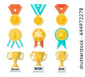 sport or business trophy award...   Shutterstock .eps vector #644972278