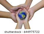 earth planet in asian children...   Shutterstock . vector #644975722