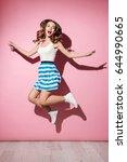 full length portrait of a happy ... | Shutterstock . vector #644990665