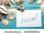 marine summer postcard.... | Shutterstock . vector #645000082