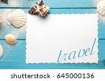 marine summer postcard.... | Shutterstock . vector #645000136