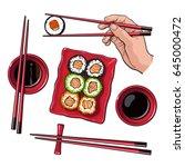 japanese sushi set  serving... | Shutterstock .eps vector #645000472