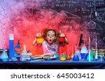 funny little girl doing... | Shutterstock . vector #645003412