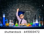 little boy scientist in the... | Shutterstock . vector #645003472