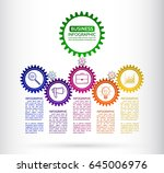 abstract connected gears style... | Shutterstock .eps vector #645006976