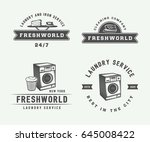 set of vintage laundry ... | Shutterstock .eps vector #645008422