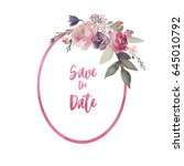 Stock photo watercolor floral frame border wreath flower illustration for wedding anniversary birthday 645010792