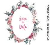 watercolor floral frame  ...   Shutterstock . vector #645010822