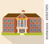 school building in flat style.... | Shutterstock .eps vector #645017692