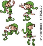 cute cartoon christmas elves.... | Shutterstock .eps vector #64502110