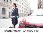 beautiful business woman... | Shutterstock . vector #645027442