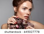 beauty model with ice cube full ... | Shutterstock . vector #645027778