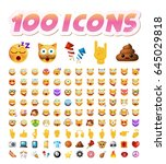 set of 100 cute icons on white... | Shutterstock .eps vector #645029818
