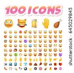 set of 100 cute icons on white... | Shutterstock .eps vector #645029845