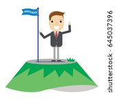 business man standing on top of ... | Shutterstock .eps vector #645037396