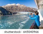 alaska cruise tourist taking... | Shutterstock . vector #645040966