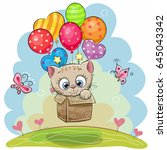 Stock vector cute cartoon kitten in the box is flying on balloons 645043342
