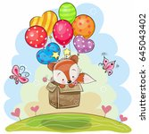 Stock vector cute cartoon fox in the box is flying on balloons 645043402